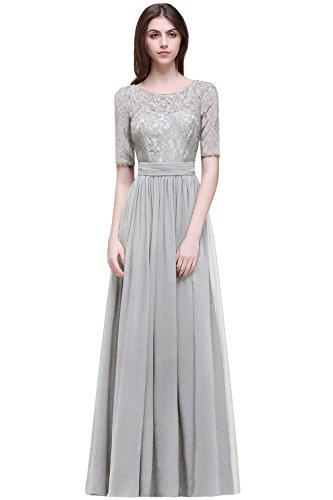 MisShow Damen hochzeitskleider Maxilang Silber 44