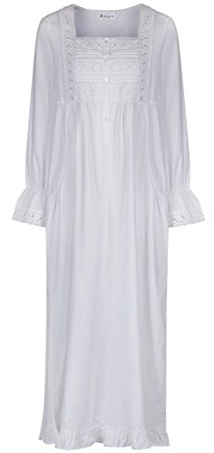 The 1 for U - Chemise de nuit longues manches avec poches pour femmes Blanc