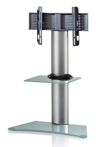 VCM TV Standfuß Rack Halterung LED Ständer Fernseh Standfuss Alu Glas Universal VESA mit Zwischenboden Rollen