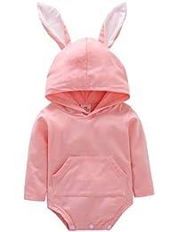 2e06d12e26c8 Girls Rompers, SHOBDW Infant Baby Unisex Cute Cartoon Rabbit Ear Hooded  Jumpsuit Sweet Toddler Long