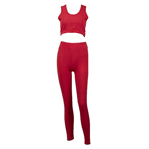 Mujer 2 Piezas Chándal - Camisetas Sin Manga y Cintura Media Pantalones Moda Casual Running Jogging Fitness Conjuntos Deportivos Rojo/Verde/Negro S-XL (M, Negro 1)