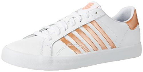 K-Swiss Belmont So, Sneakers Basses Femme Blanc (White/metallic Papaya Punch)