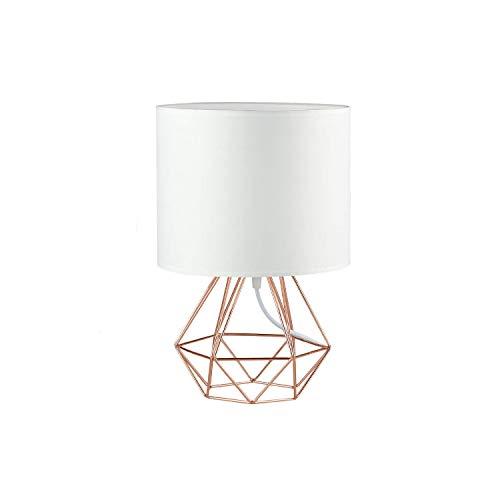 Jeffrien Vintage Mini Tischlampe - DIY Tischleuchte Modern Körbchenstil Stil Kreativer für Schlafzimmer Nachttischlampe Arbeitszimmer Office Weiß und Rose Golden -