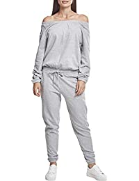 Urban Classics Ladies Cold Shoulder Terry Jumpsuit, Combinaison Femme