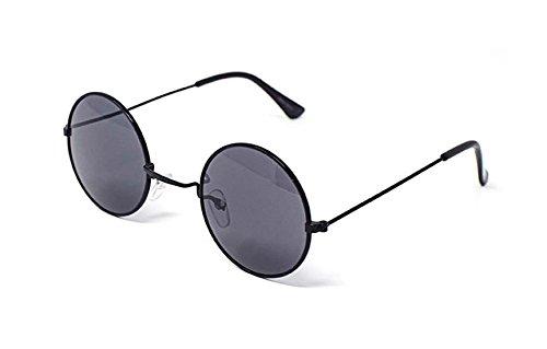 UltraByEasyPeasyStore Marco Negro Con Lentes de Humo Estilo Pequeño Adultos Gafas Redondas de Sol Estilo John Lennon vintage Calidad UV400 Elton Hombres Mujeres Unisex Clásicas