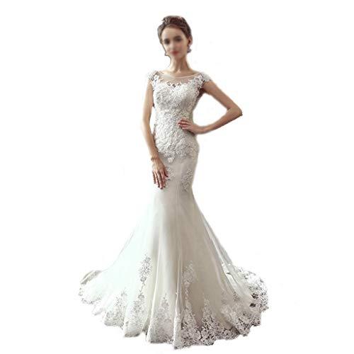 Boda Palabra Hombro Vestido Largo Vestido sin Mangas Cola de Pescado Gasa Vestido de Novia Vestido de Noche (Color : White, tamaño : M)