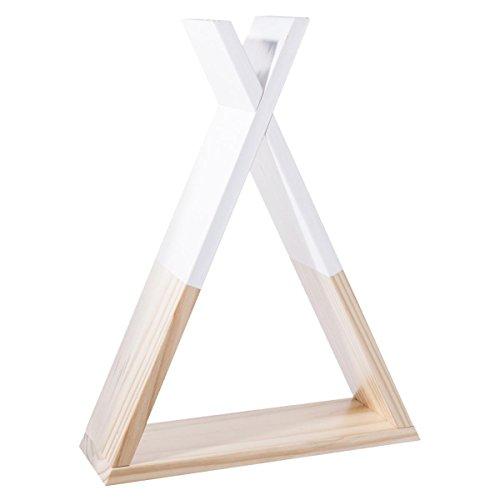 Mensola a forma di teepee per cameretta dei bambini – colore: bianco e legno naturale