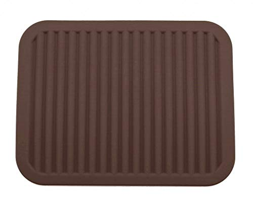 Coque en silicone support de pot, Tapis de dessous de plat, – étanche, isolation thermique, antidérapant, Vaisselle Pad Dessous-de-verre – 22,9 x 30,5 cm (Marron)
