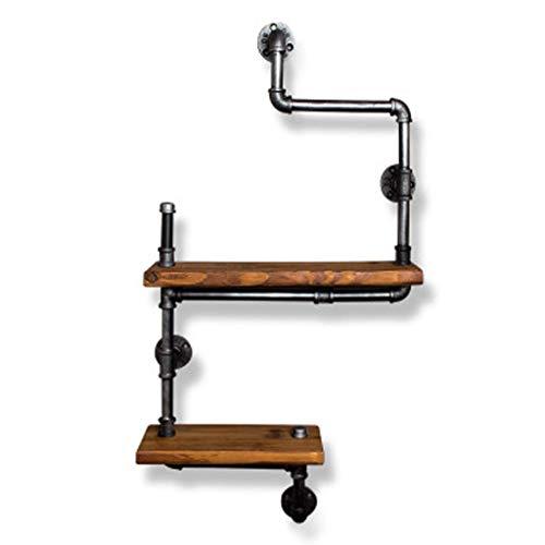 MTX Ltd Regal Vintage Bücherregal Loft Industriestil Wandregal Schmiedeeisen Doppel Massivholz Trennwand Wasserpfeifenständer, Ausstellungsstand -