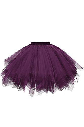 MuseverBrand 50er Vintage Ballet Blase Firt Tulle Petticoat Puffy Tutu Dark Purple Small/Medium