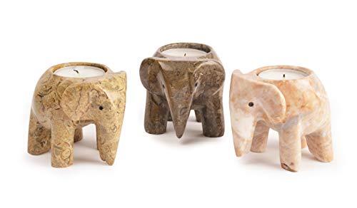 Desconocido Fossil Gift Shop - Portavelas, diseño de Elefante de mármol, Fossilstone Collection