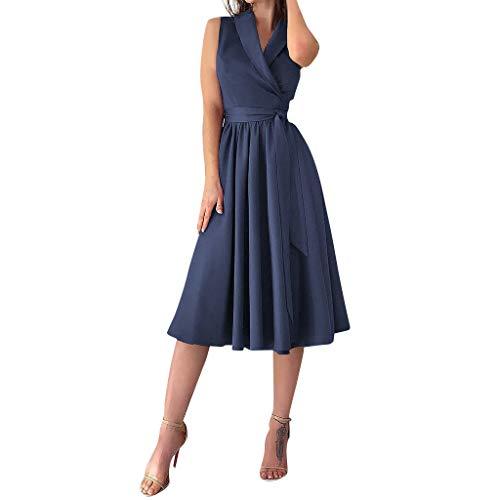 VENMO 2019 Frauen Sexy Sommerkleid Kleider Damen Strandkleider Kleid Sommerkleider Blumen Lange äRmellos Abendkleid Einfarbig Strandkleid Party 50Er Hepburn Stil Cocktailkleid(Blau,S)