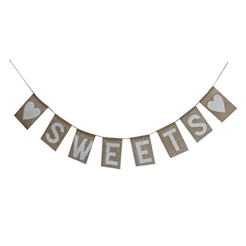 LUOEM SWEETS Burlap Bunting Banner Rustic Country Wedding Party Hanging Sign Decoration