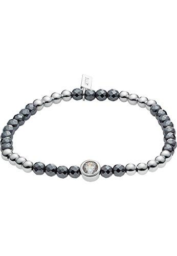JETTE Silver Damen-Armband Summer Night 925er Silber 1 Zirkonia 26 Glasstein One Size, silber/anthrazit