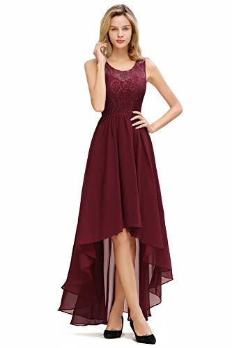 Babyonlinedress® Elegantes Hochzeitskleid Winter Abendkleider Chiffonkleid Brautjungfer Partykleid Festliches Kleid, Wein Rot, 46
