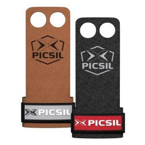 PICSIL Raven Grips 2H - Calleras para Crossfit Grips Gymnastics, pullups, Weight Lifting, Chin ups Protect Your Palms. Talla L. Color Marron