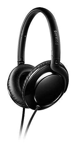 Philips Flite Aerolite SHL4600BK Casque Audio Pliable à plat, Design Ultra-Fin, Son clair, Câble Anti-Nœuds,