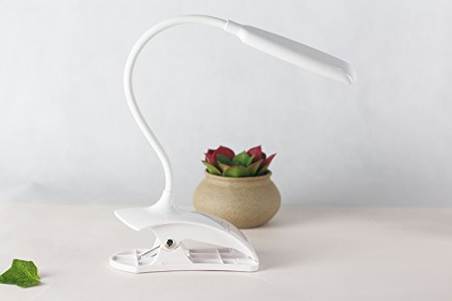 Brave Navigator Flexible Neck USB Charging Cycle Charge LED Clip On Lamp Table Desk Lamp Night Light 3-Level Adjustable Brightness with Touch Sensor Control White