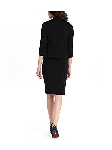 Femme Robe de Travail Deux Pièces Veste Manches 3/4 Noir