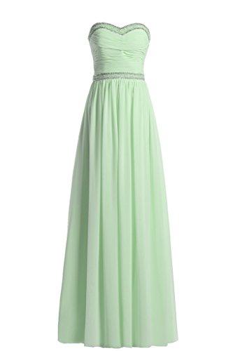Promgirl House Elegant Chiffon Traegerlos A Linie Ballkleider Abendkleider Brautjungfernkleider Lang Gruen B