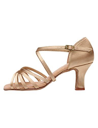 besbomig Damen Latin Dance Schuhe hohe Absätze Ballsaal Performance Sandalen - Gemütlich Weiche Sohle Standard Samba Chacha Salsa Tango Partei Tanzschuhe