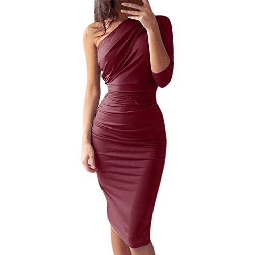 Tendenza per Il Tempo Libero Womens Pure Color Party Fashion Dress Ladies Holiday Abito al Ginocchio Sconto Primavera Estate 2019