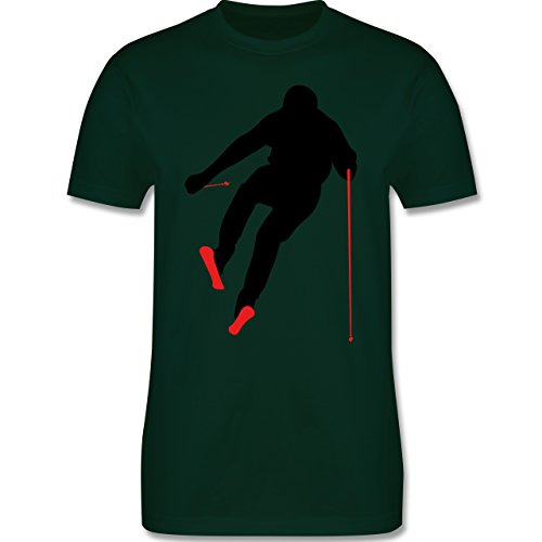 Wintersport - Abfahrt Skipiste - Herren Premium T-Shirt Dunkelgrün