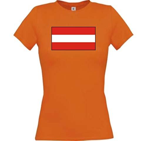 Lady T-Shirt Österreich Austria Ländershirt mit Wunschnamen und Nummer, orange, XL
