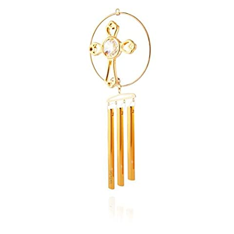 24K Gold Plated Crystal Studded Cross Decorative Wind Chime by