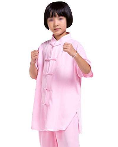 Junge Mädchen Unisex Tai Chi Anzug Atmungsaktiv Kung Fu Uniformen Kampfsport Chinoiserie Lange Kurze Ärmel Pink 1 M