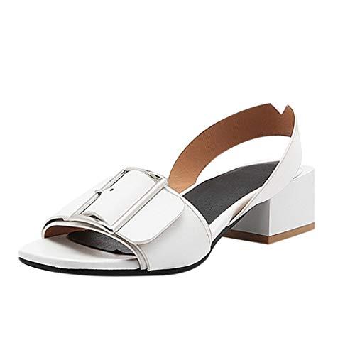 ♫Open Toe Infradito Donna♫Tacco Quadrato Fibbia in Metallo Estate Sandali Scarpe col Tacco,Eleganti Aperti Scarpe da Spiaggia,Tacco 4.5cm (43 EU, White)