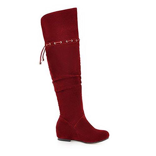 VogueZone009 Donna Pelle Di Mucca Alta Altezza Puro Cerniera Tacco Basso Stivali Rosso