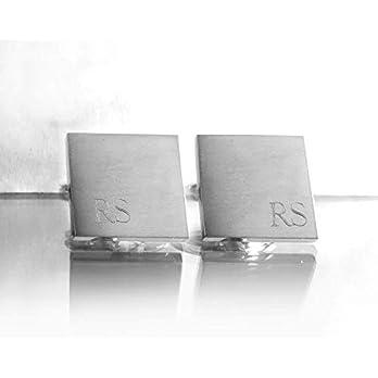Quadratische Manschettenknöpfe mit Gravur, Edelstahl, Matt, Initialen (in der Ecke), 1.7 x 1.7 cm, Cufflinks für Männer