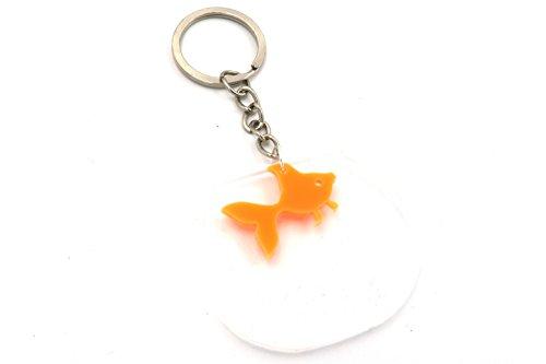 Fischglas Motiv Schlüsselanhänger silber-farben Fisch Anhänger See