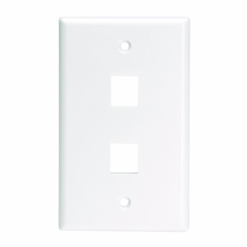 Leviton 41080-2WL QuickPort Wallplate For Large Connectors, Single Gang, 2-Port, White by Leviton Leviton Quickport Single
