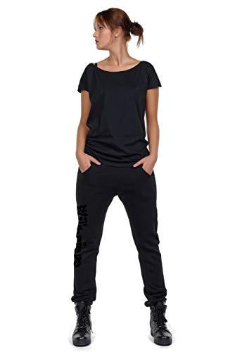Jogginghose Damen locker lässig Freizeithose Frauen schwarz Boyfriend Baggy Style Hose Sporthose - Flitzpiepe L