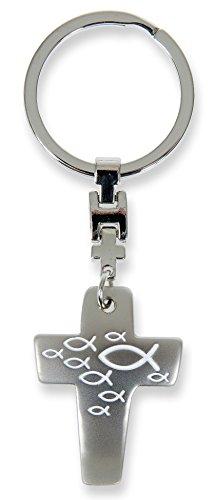 ideen °° Schlüsselanhänger Kreuz Fisch-Symbol (weiß) ()