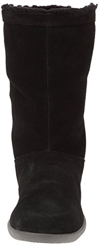 Crocs Adela Foldover Fuzz Bootie W, bottes mi mollet Noir (Black/Charcoal)