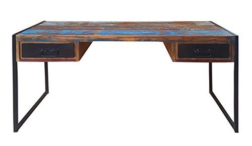 SIT-Möbel Bali 3507-98 Schreibtisch mit 2 Schubladen, Mangoholz, bunt lackiert, 140 x 70 x 76 cm