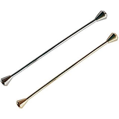 samway 2pcs para Hombre Joyería cuello pines, chapado en platino, forma cónica ganchillo cuello de bar pin Ojal Pin cada uno de color negro y