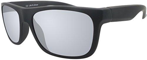 Sonnenbrille UV 400 La Optica Herren Männer Leicht Sport - Einzel/Doppelpacks (Einzelpack Gummiert Schwarz (Gläser: Silber verspiegelt))