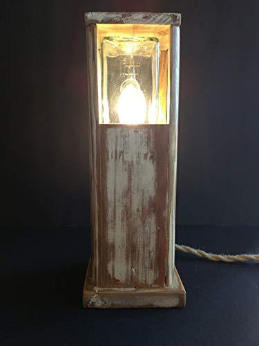 Lámpara vintage led de sobremesa de madera reciclada de palet hecho a mano