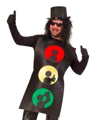 KarnevalsTeufel Kostüm Ampelmännchen, 1-teiliges Spaß-Kostüm im Ampel-Design