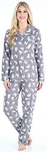 PajamaMania Damen Pyjama langärmlig Baumwolle Flanell Pyjama PJ Set - Grau - X-Small -