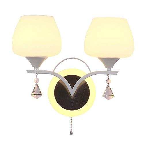 TZX Dekorative Wandleuchte Wandleuchte Glas Einzelnen Edelstahl Wandleuchte Kordelzug Einfache Und Moderne Schlafzimmer Nacht Wohnzimmer Gang Treppen Glas Lampe Wandleuchten (Color : A) -