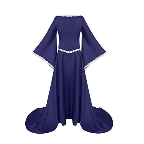 Yesmile Damen Mittelalter Kleid Vintage Prinzessin Empire Gericht Cosplay Kostüme Kleid Bodenlänge Renaissance Partykleid Maxikleid Cosplay Kostüm