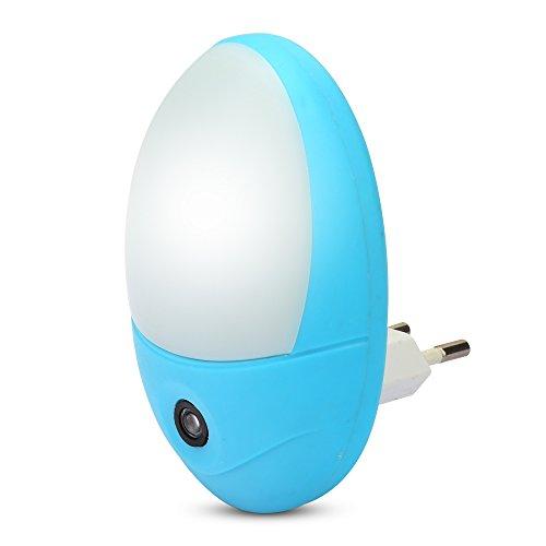 Nachtlichter mit Sensor, Stromsparendes Steckdosenlicht mit eiförmiger Form für Kinderzimmer, Fluren und Treppen, Kaltweiß Licht Blau