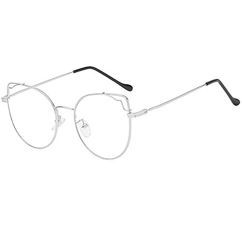 Igemy Optische Brille Mode Unregelmäßige Klare Linse Brille Vintage Geek Nerd Retro Style Metallrahmen (D)