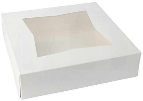 25,4cm Länge x 25,4cm Breite x 21/5,1cm Höhe weiß Kraft Karton auto-popup Fenster Pie/Bakery Box by MT Produkte (15Stück) (Single Cupcake-container)