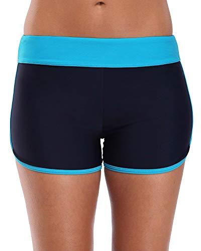 Lever Damen Schwimmhose Badeshorts Strandshorts Bauch Weg Sport Bikini Shorts 50 LSF Schwarz Türkis 44 2XL